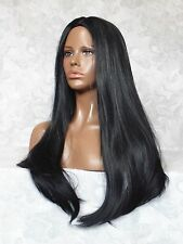 """26"""" Long Straight Black, Center Skin Part, no Bangs, Full Synthetic Wig - #96"""