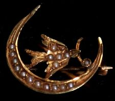 14 ct gold seed pearl dove olive branch moon swallow bird brooch pin Edwardian
