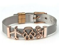 Stainless Steel Women Bracelet Keeper Mesh Charm Aircraft & Dog Claw