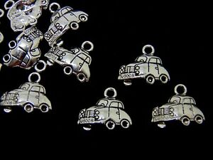 10 Pcs - Tibetan Silver VW Car Charms Beetle Taxi Jewellery Pendant Charm P163