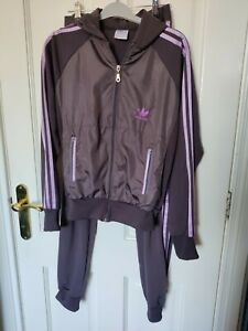 Adidas tracksuit Grey And Purple Girls  hooded top and trousers. Sz  s