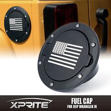 Xprite Black Aluminum Gas Fuel Tank  Cap Cover W/ U.S. Flag 07-17 Jeep Wrangler
