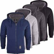 Mens High Quality Padded Borg Fleece Lined Full Zip Up Hoodie Sweatshirt Jacket