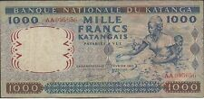 Katanga , 1000 Francs , 26.2.1962 , P 14a , Prefix AA , Rare