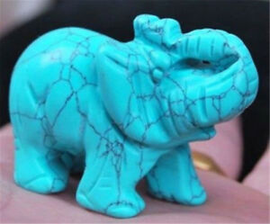 Green Turquoise Hand Carved Elephant,Crystal Healing,Gemstone Animal Figurine
