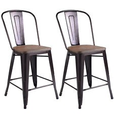 Copper Set of 2 Metal Wood Counter Stool Kitchen Dining Bar Chairs Rustic New  sc 1 st  eBay & Rustic Bar Stools | eBay islam-shia.org