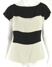 ETRO Black & Off-White Colorblock Silk Cap-Sleeve Peplum Blouse 46