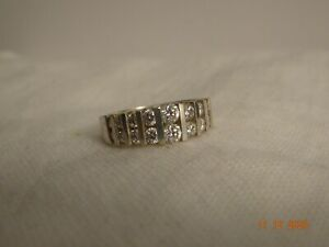 Unisex Sterling Silver Diamonique CZ Band Ring - size 9