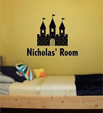 Castle & Personalized Name Vinyl Wall Sticker Mural Girls Boys Room