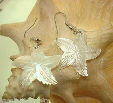 30mm Hawaiian White Lip Mother of Pearl Shell Starfish Dangling Hook Earrings