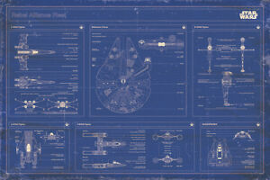 STAR WARS REBEL ALLIANCE BLUEPRINT 91.5x61CM MAXI POSTER OFFICIAL LICENSED MERCH