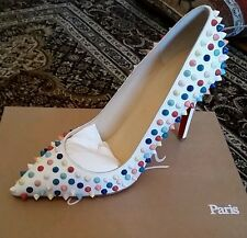 NIB Christian Louboutin White Candy Gomme Multi Spike 100mm Pigalle 40 $1295