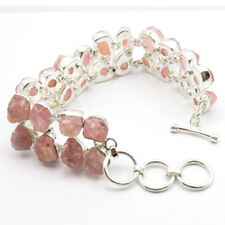 Sterling Silver Bracelet 7 1/2 Inches Real Raw Rose Quartz Energy Stones, 925