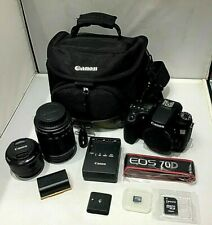Canon EOS 70D 20.2 MP DSLR Camera Kit with 18-135 & 50mm Lens w Bag and access.