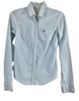 Hollister Womens Medium Striped Blouse Top Blue White Button Down Shirt    F