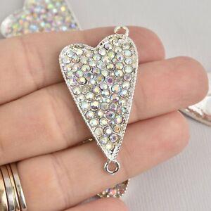 Open Heart Finding Pendant 4 Pcs Heart Bracelet Link Gold Rhinestone Jewelry Connector G2-6 4 XH
