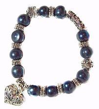 Bracelet Cultured Freshwater Pearl Open Filigree Puffed Heart Charm Pearl Black