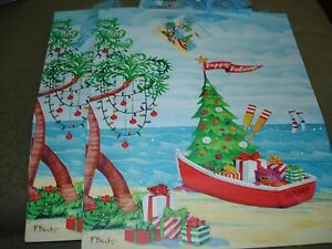 """HOLIDAY GIFT BAGS  LOT OF 2  APPROX. SIZE 12 1/2"""" X 10 1/4"""" BOAT"""