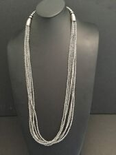 Native American Sterling Silver 4 mm  6 Strand Navajo Pearls Bead Necklace