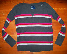 Women's Juniors AMERICAN EAGLE Gray Pink Red Stripe PullOver Sweater Size Small