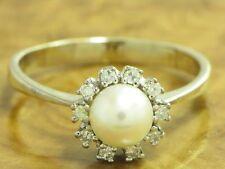 14kt 585 ORO bianco anello con akoyaperle & Guarnizione con Diamante Anello Perle Diamante