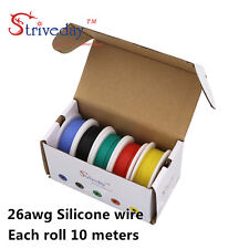 50m 26AWG Silicone Wire 5 color Mix box1 package Electrical Wire Line Copper DIY