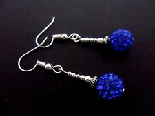 A PAIR OF PRETTY BLUE SHAMBALLA STYLE  DANGLY EARRINGS. NEW.