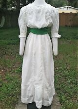 WEARABLE EDWARDIAN DAY DRESS c.1910 ANTIQUE VICTORIAN ARTS & CRAFTS WEDDING