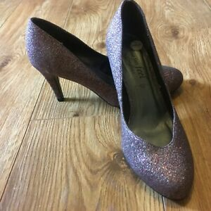 BRONZE GLITTER SHOES HEELS FROM NEW LOOK - SIZE 6 WIDE FITTING