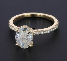 Ring 14K Yellow Gold Over 3ctw Oval Cut Brilliant Moissanite Hidden Halo Wedding