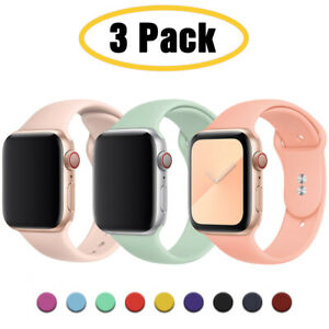 For Apple Watch 6 5 4 3 SE 38/40/42/44mm Silicone iWatch Band Sport Strap 3 PACK