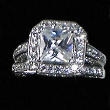 STUNNING_PRINCESS CUT ALL CLEAR CZ WEDDING SET w/ CZ BORDER_SZ-8__925 SILVER NF