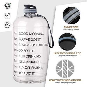 1 Gallon Extra Large Sports Leakproof Motivational Time Marker Water Bottle Jug