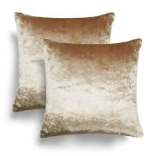 Pair of Crushed Velvet Cushion Covers Luxury Plush Plain 2 Pack Cover Set