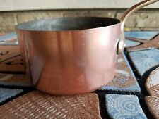 "Vintage French 5 1/2"" Copper Sauce Pot Pan Cast Iron Handle Tin Lined"