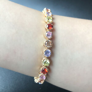 """7"""" 5mm Round Multi-color Zircon Bracelet Yellow Gold Filled Chain Mother's Gift"""