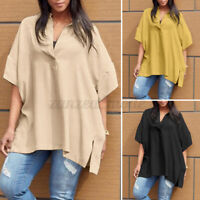 ZANZEA Womens Half Sleeve V Neck Solid Casual Loose Tops Tunic Shirt Blouse