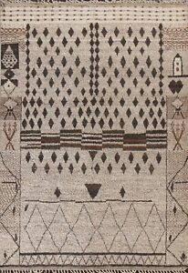 Thick-Plush Tribal Geometric Moroccan Berber Oriental Area Rug Hand-knotted 8x11