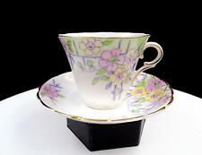 "COLCLOUGH CHINA ENGLAND #6592 FLOWERS & TRELLIS 2 3/4"" CUP AND SAUCER"