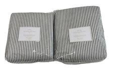 2-  Pottery Barn Emily Meritt Ticking Stripe Black Panels Cotton 50x108 NO HOOKS