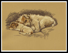 Jack Russell Terrier Mother And Pup Lovely Vintage Style Dog Print Poster