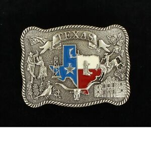 TEXAS ~Silver Western Belt Buckle~ Red, White, Blue ~ALAMO~ State Square 37592