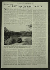 Monte Carlo Rally Review By J Eason Gibson 1954 1 Page Photo Article
