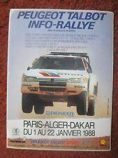 AUTOCOLLANT STICKER AUFKLEBER PEUGEOT TALBOT RALLYE PARIS ALGER DAKAR 1988