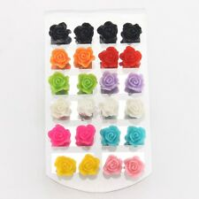 12 Pairs Mystic Rose Stud Earring Mixed Color Flower Wholesale Lot Nickel Beauty