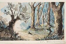 Dessin XIX° Lavis et aquarelle non sig. Paysage de forêt, Chasseur et son chien