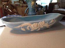 """Vintage Weller Pottery Since 1872 Arts & Crafts blue Floral  14.5"""" long Bowl"""