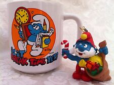 Vintage Smurf Mug 1981 Is it Break Time Yet Cup Mug Christmas Ornament Papa Lot