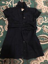 Girls Cherokee Navy Blue School Uniform Button Dress Size 4