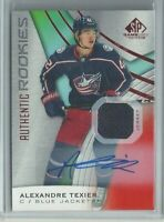 2019/20 SP Game Used Alexandre Texier Authentic Rookies Blue Jackets Auto Jersey